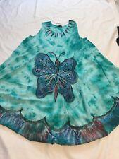 Artsy  blue travel destination butterfly holiday Lagenlook Boho Tye-dye Dress