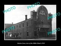 OLD LARGE HISTORIC PHOTO OF ONSLOW IOWA, VIEW OF THE MILLER HOTEL c1910