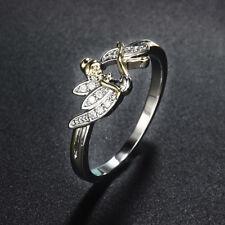 Beautiful Romantic 100% Flower Fairy Silver Crystal Ring Birthday Wedding Gift