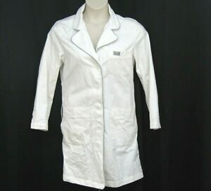 Blue Sky Scrubs White Lab Coat Size S 100% Cotton Grey Trim Heavy Fabric