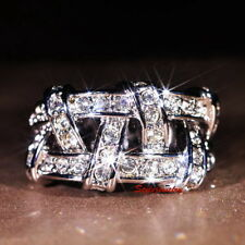 18k White Gold Plate Crystal Wedding Silver Nest Ring Size 7 R149