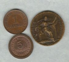THREE 1917/1924 & 1927 PORTUGAL BRONZE COINS GOOD VERY FINE OR BETTER CONDITION