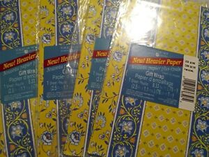 Forget-me-not American Greetings Gift Wrap Paper. Lot of 4 Floral Stripe Yellow