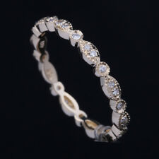Milgrain Diamond Eternal Band Engagement & Wedding Ring Solid 14K Yellow Gold