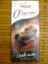Valor Creamy Dark Chocolate Bar with Truffle, Stevia, Sugar Free, 3.5 oz