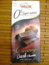 VALOR DARK CHOCOLATE BAR STEVIA, Creamy Truffle COCOA SUGAR FREE for DIABETICS