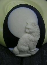 Cat and full moon cameo silicone push mold polymer clay resin sugar craft USA