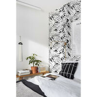 Black and white leaves removable Wallpaper Decor Self Adhesive Peel & Stick