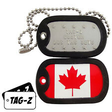 Military Dog Tags - Custom Embossed Flag Tag Set - CANADIAN FLAG w/ Silencers