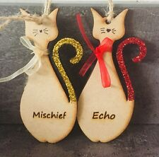 Personalised Cat Kitty Pet Christmas Hanging Tree Decoration Wooden Bauble Sign