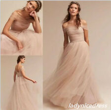 Vintage Off Shoulder Blush Wedding Dress Tulle Floor Length Beach Bridal Gown