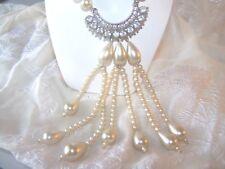 Marvelous Vintage Faux Pearl Rhinestone Necklace Tassel Pendant WO-11