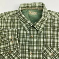 Arrow Button Up Shirt Mens Large Green Plaid Long Sleeve Casual