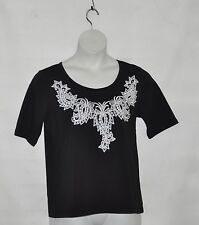 Bob Mackie Bateau Neck Paisley Sequin Short Sleeve Knit Top Size XS Black