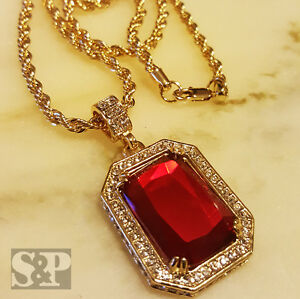 """Mens 14k Gold Plated Iced Red Ruby Octagon Pendant Hip-Hop & 24"""" Rope Chain"""