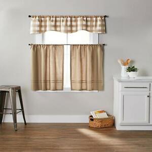 Kitchen Curtains Tier Valance Set 3 Piece Checks N Solids Home Window Treatment
