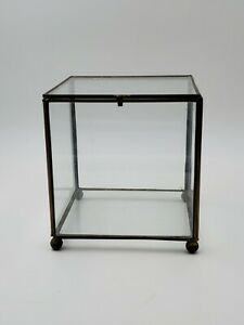 Vintage Brass & Glass Jewelry Display Vitrine Box with Hinged Lid Ball Feet Cube