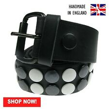 38mm Black White Button Removable Buckle Press Stud Belt Handmade In England