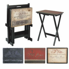 Tuscan Wine TV Trays with Stand, Set of 4