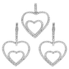 925 Sterling Silver 2.18 Carat CZ Multi-Heart Pendant and Earring Set