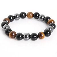 Women Men Tiger Eye Hematite Black Obsidian Natural Stone Bracelet Gifts WA
