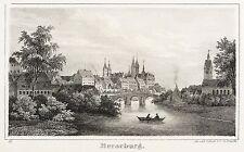 MERSEBURG - GESAMTANSICHT MIT NEUMARKTBRÜCKE - Sydow - Lithografie 1840
