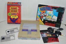 Vintage Super Nintendo SNES Console, Mario Paint & Game Genie