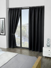 "Luxury Thermal Supersoft Blackout Curtains Black 45"" x 54"" (114cm x 137cm)"