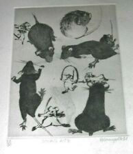 Rats-Souris- At Play Etching, Pencil signed