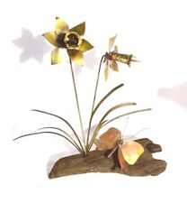 Vintage Retro Metal Art Butterfly & Daffodils On Driftwood Signed Craig