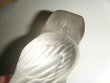 "ART GLASS VTG 3.5"" LALIQUE FRANCE HIBOU OWL PAPERWEIGHT FROSTED/CLEAR CRYSTAL"