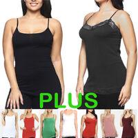 New Women Basic Plain Solid LONG Tank Top LACE & PLAIN Camisole Spaghetti Strap