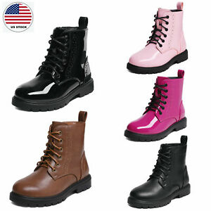 Boys Girls Combat Boots Side Zipper Waterproof Fashion High Top Boot Ankle Boots