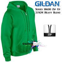 Gildan Irish Green Zip Up Hoodie Basic Hooded Sweatshirt Sweater Fleece