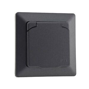 Schutzkontakt-Steckdose mit Deckel IP44 Rahmen Unterputz Dose für Feuchtraum UP