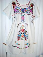 sz S-M Mexican embroidered unbleached white cotton peasant ethnic hippie dress