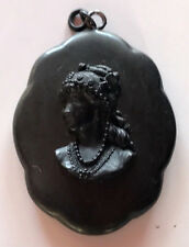 ANTIQUE VICTORIAN VULCANITE OR BOG OAK CAMEO PENDANT