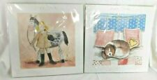 2 Children's Decoration Alex Clark Prints Girl w/Horse Dog on Bed UK artist NIP