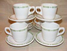 6 Buffalo China Pottery Cup and Saucer Sets Green Square Snowflake BUF119