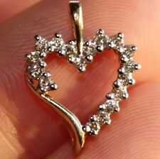 Beautiful Natural Diamond Heart Pendant 1/5 CTW 10K Yellow Gold Gift Idea!