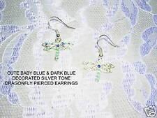 & Baby Blue Earrings Jewelry Silver Tone Dragonfly w Dk