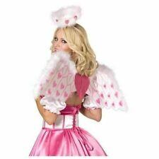 LUXURY PINK WHITE CUPID ANGEL WINGS & HALO FANCY DRESS VALENTINES COSTUME HEN