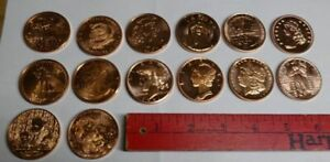** LOT of 20 -- 99.9% COPPER ROUNDS -- 14 Different Designs -- Provident Metals