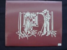 "Vtg. Hand Cut Paper Silhouette Folk Art ""Amish Life"", signed"