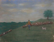 1979 Impressionist mountain landscape pastels painting shepherd signed