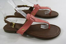 new ladies Summer Pink/Brown T-Strap Sexy Cool Shoes Sandals Size 8