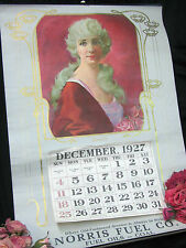 Vintage CLAIR V FRY 1927 CALENDAR girl ART Brown Bigelow FUEL Advertising 27""