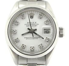 Rolex Datejust Ladies Stainless Steel Watch Oyster Band White Diamond Dial 6916