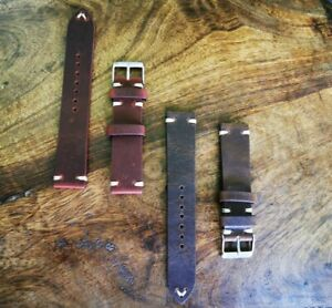 Leather Watch Band Strap Bracelet Wristwatch High Quality Hand Made 19mm Vintage