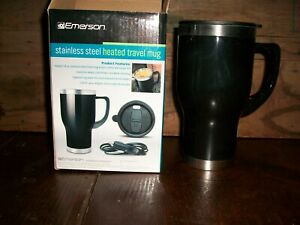 Pair of Emerson 14-oz Heated Stainless Steel Travel Mugs New in Boxes & Adaptors